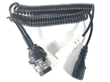 4V Adaptor Trailer Cable Electrical Coiled European Style With Moulded Plug